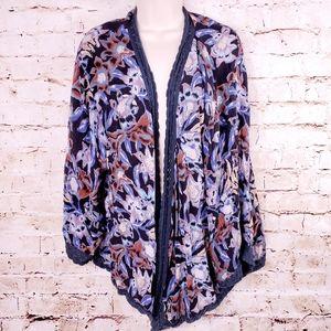 Free People Boca Floral Black Lace Kimono Cardigan